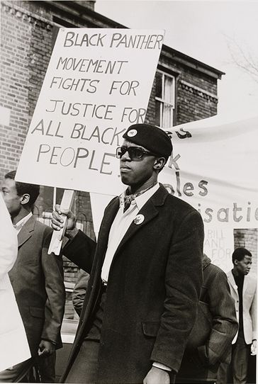 """""""Black Panther Movement Fights for Justice for All Black People"""" Young men of the Black Panther movement march in support of black community, 1971 by Neil Kenlock"""