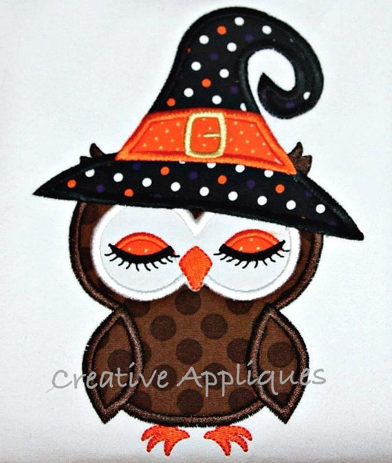 Witch Owl Halloween Machine Embroidery Applique Design 3 Sizes on Etsy, $3.99
