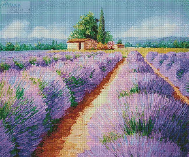 Artecy Cross Stitch. Lavender Scent Cross Stitch Pattern to print online.