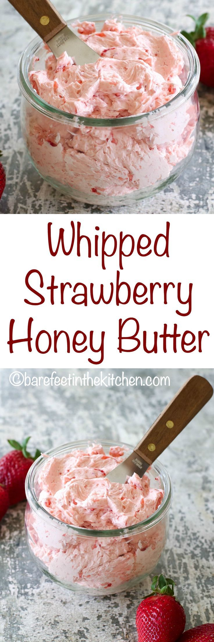 Whipped Strawberry Butter is the topping of your dreams! Try it on pancakes, waffles, toast, and more - get the recipe at barefeetinthekitchen.com (Homemade Pancake Healthy)