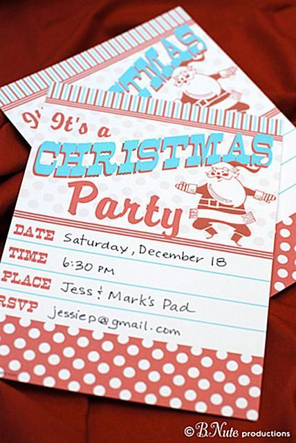 A vintage style Christmas party invitation on a table.