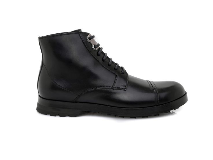 DOLCE & GABBANA - Lace up ankle boots in calf leather - Black - Elsa-