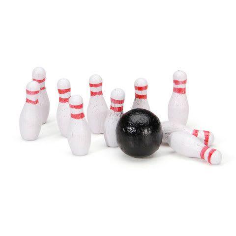 Dollhouse Miniature Mini Bowling Ball & Pin Set Spatterware