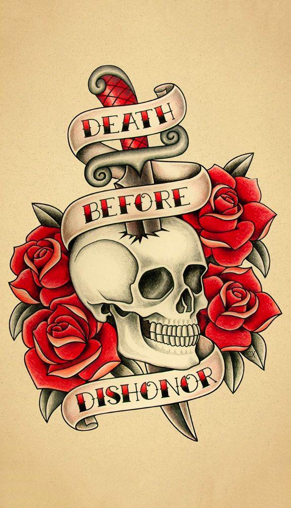 Old School Tattoo (by Crixtina) #skull #calavera #tatuaje #tattoo #oldschool – Old School Tattoos