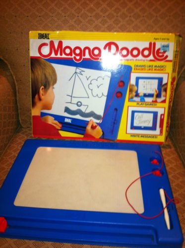 Magna Doodle is a magnetic drawing toy, consisting of a drawing board, a magnetic stylus, and a few magnet shapes. Invented in 1974, over forty million units have been sold to date worldwide, under several brands, product names and variations