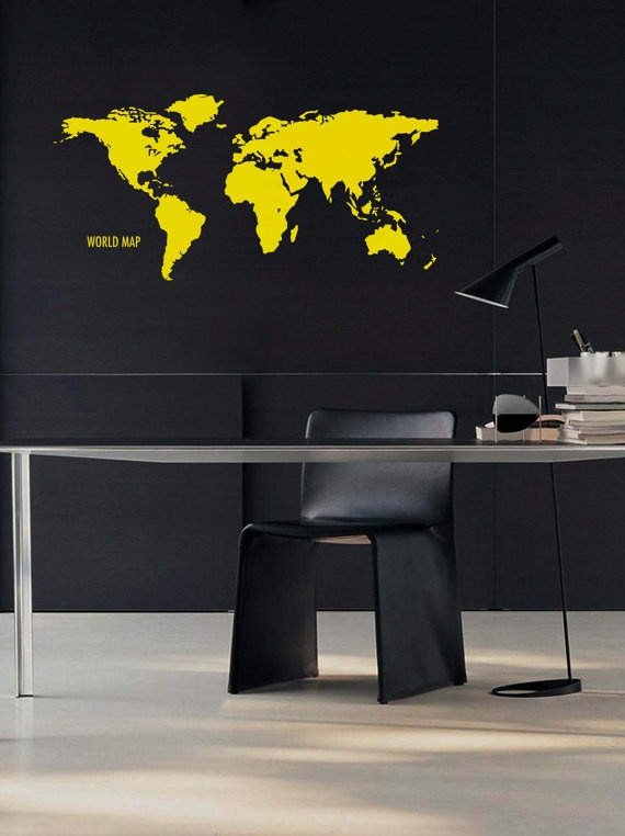 WORLD MAP Wall Decal Vinyl Sticker 45x22 by decalbandit on Etsy, $30.50