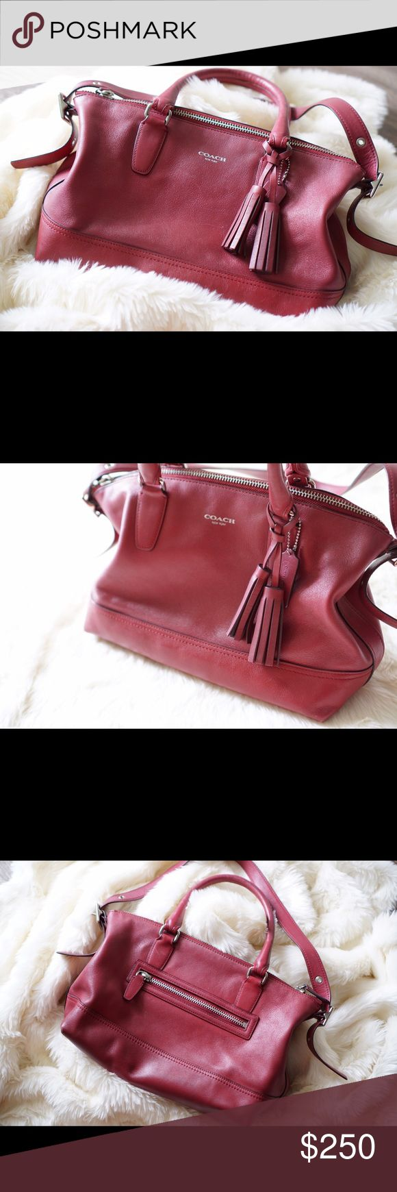 Coach Legacy satchel in dark cherry, rare! The perfect everyday purse in a unique color from Coach! Light lip liner stain probably easily removed on the inside. Coach Bags Shoulder Bags