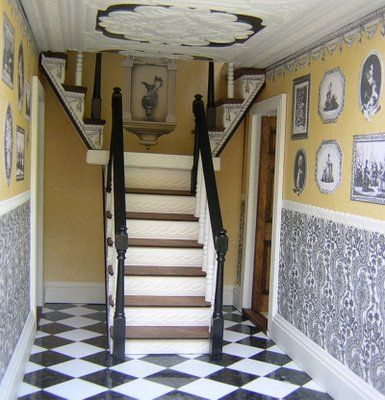 Trompe l'oeil Picture Gallery; Love The Stairs That Go Two Directions To Second Floor!