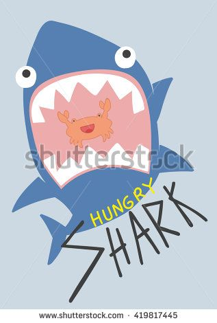 cool shark illustration, cartoon, with cute crab - stock vector