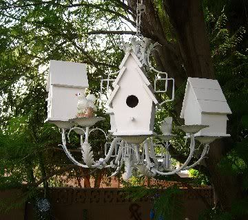 A Chandelier made with Bird Houses!
