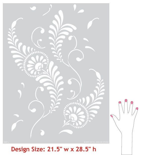 Large Feathered Damask Stencil | Royal Design Studio