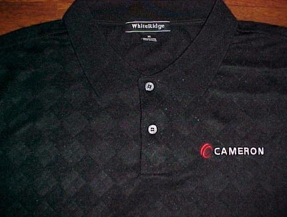 Cameron International Company Houston Texas Logo Men's Black Golf Polo Shirt XL #WhiteRidge #PoloRugby