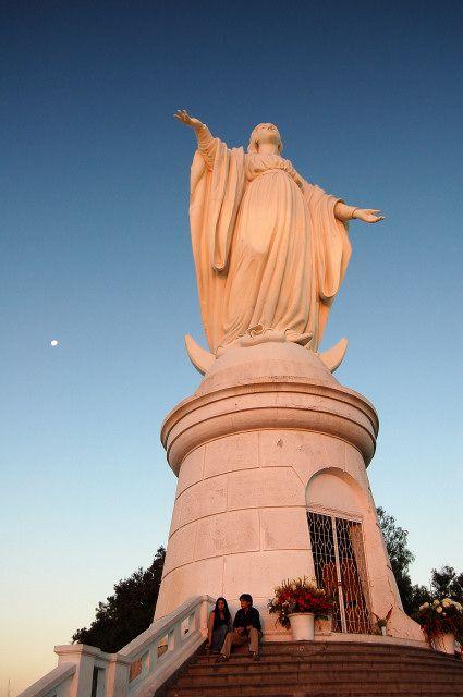 Virgen de la Immaculada overlooking all of Santiago from the top of Cerro San Cristobal, Chile