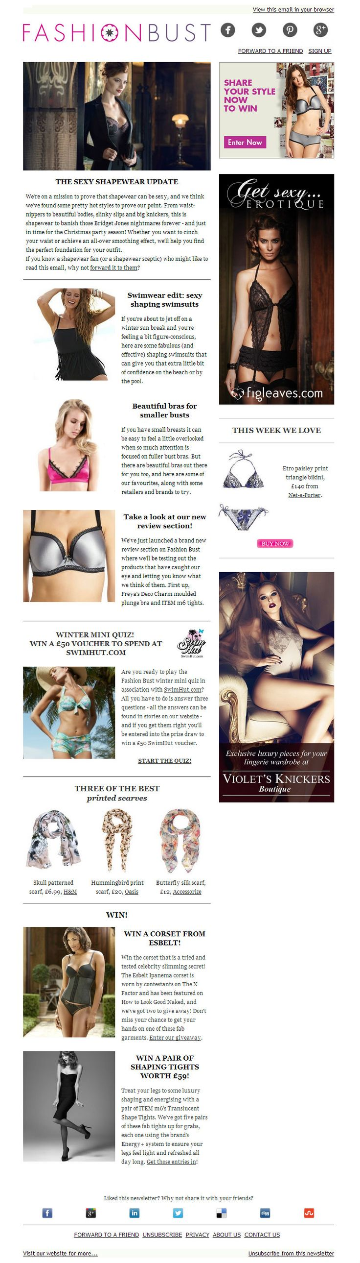 The shapewear issue: sexy shapewear update and fabulous shaping swimsuits to wear on the beach. Plus, we've got a feature on beautiful bras for smaller busts and the launch of our review section! Plus amazing giveaways http://fashionbust-news.com/1ORR-1YGXZ-D29CBN0395/cr.aspx