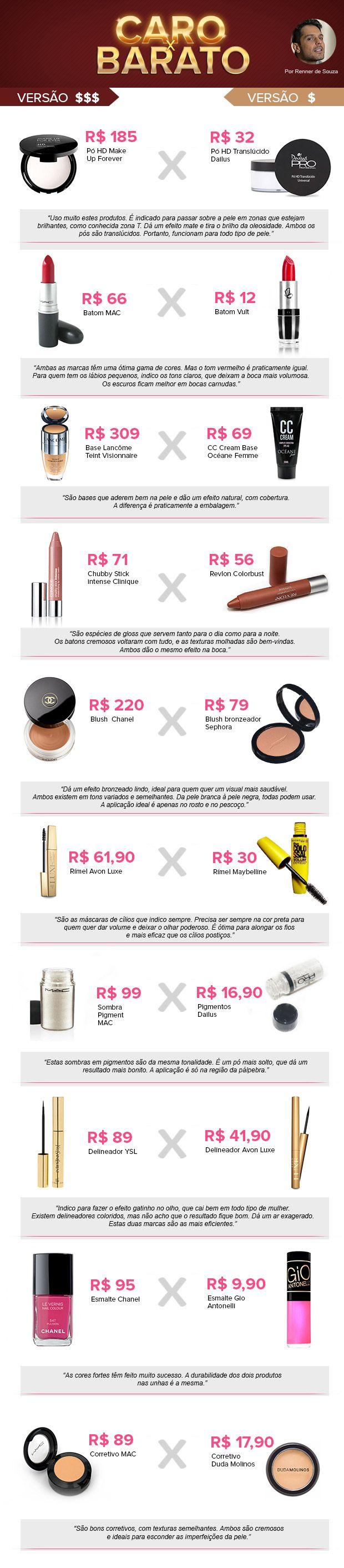 """Dicas preciosas de """"dupes""""- produtos com efeito praticamente idêntico porém com preços acessíveis!"""