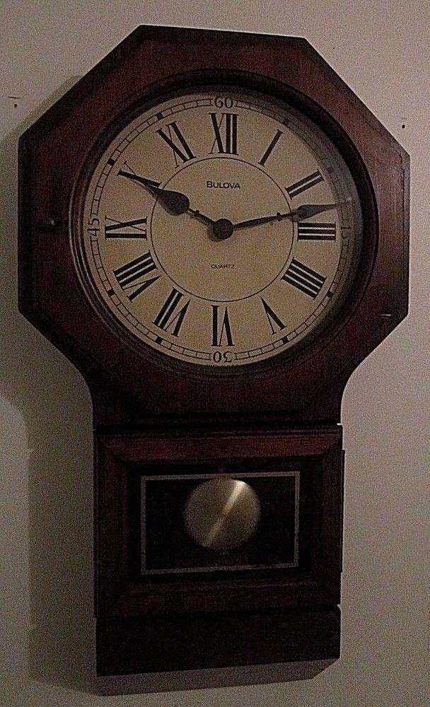 Bulova Solid Wood Regulator Style Wall Clock W Dark Walnut Stain 25 High Dark Walnut Stain Wall Clock Clock