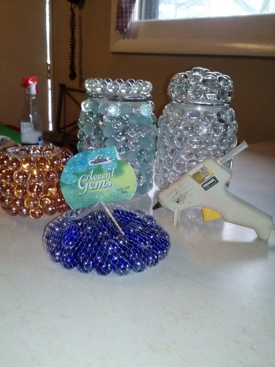 Candle jars recycled marbles dollar store hot clue for Idea for door prizes