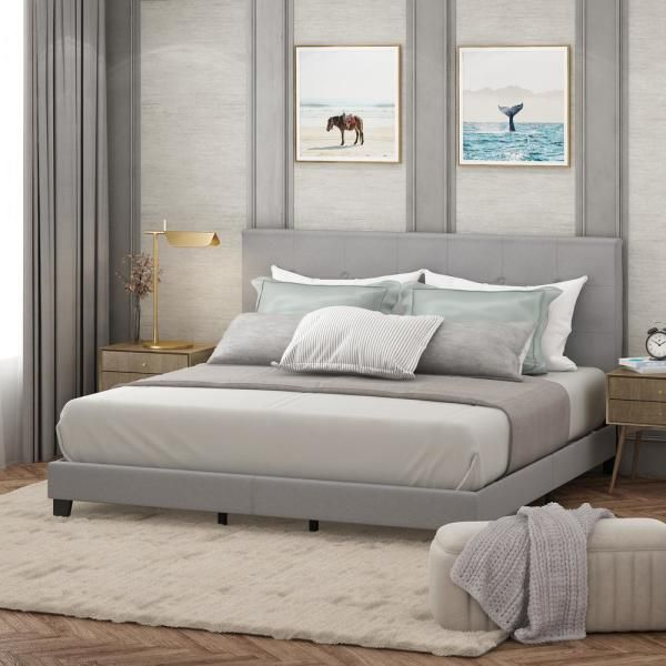 Furinno Laval Glacier Queen Button Tufted Bed Frame Fb17020q Gl The Home Depot In 2020 Upholstered Platform Bed Tufted Bed Frame Grey Bed Frame