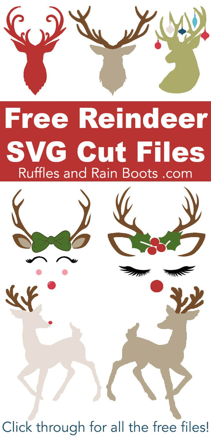 These free reindeer SVGs and antler cut files will have your Christmas crafts do…