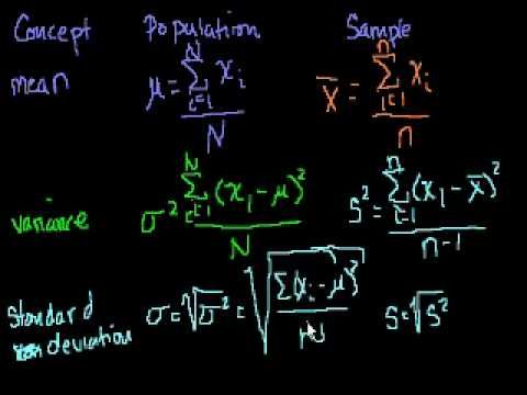 Statistics: Review of Mean, Variance and Standard Deviation