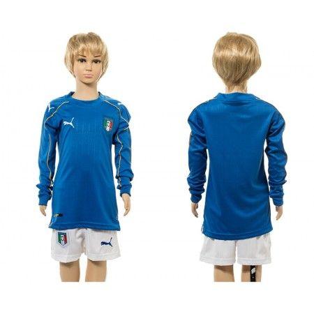 #Italien Trøje Børn 2016 Hjemmebanetrøje Lange ærmer.222,01KR.shirtshopservice@gmail.com