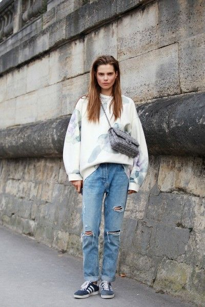 I love that Acne sweater. Caro #offduty in Paris. #CarolineBraschNielsen | @andwhatelse