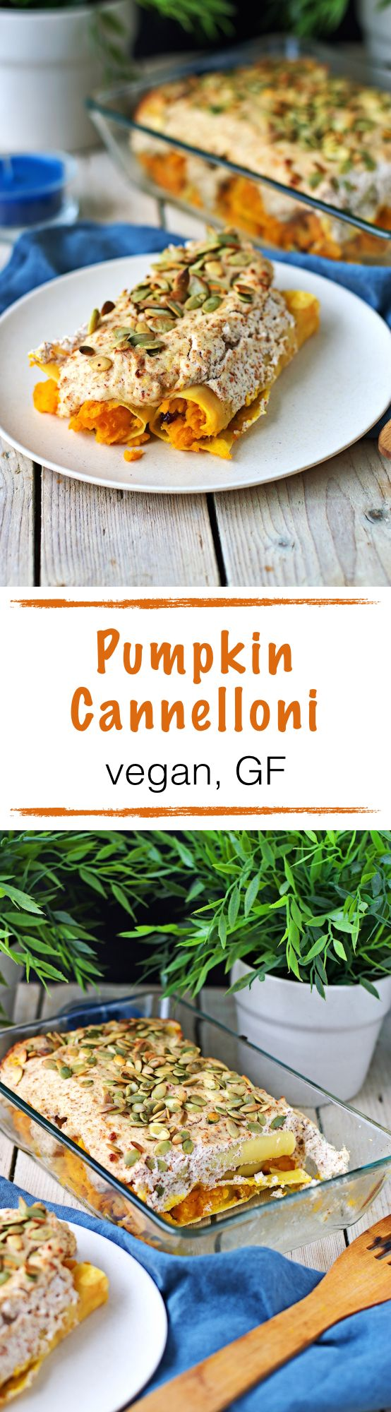 Pumpkin Cannelloni vegan and gluten free Pumpkin Cannelloni which  come with a filling made from pumpkin, onions, and cranberries and are topped by an amazing almond crust and pumpkin seeds. Don't miss out on this for an hearty and delicious dinner.