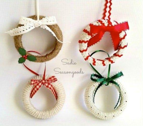 Diy Christmas Ornaments Mason Jar Lid Wreath