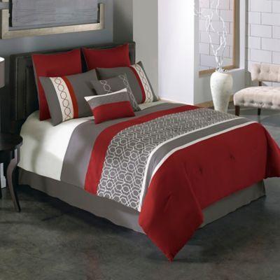 BEDDING IDEA FOR GATLIN; Covington 8-Piece Comforter Set in Red/Grey - BedBathandBeyond.com