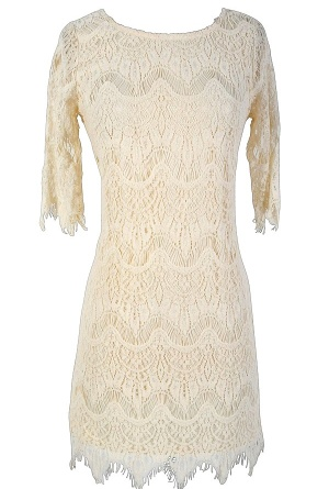 Vintage-Inspired Lace Overlay Dress in Ivory and boots for engagement photos: Apparel Chicago, Shower Dresses, Rehearsal Dinners Dresses, Rehearsal Dinner Dresses, Overlays Dresses, Teen Clothing, Lilies Shops, Clothing Styles, Rehear Dinners