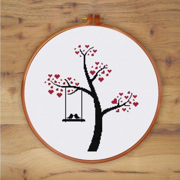 ThuHaDesign Bird on Swing cute bird love cross stitch pattern easy design for beginners