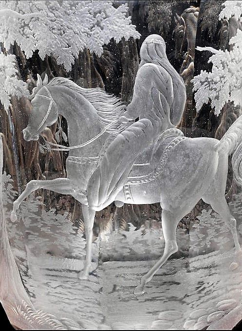 Detail - An important and massive pair of Bohemian clear-glass goblets and covers, circa 1850-70 Possibly by Johann F. Hoffmann, Carlsbad, the fluted funnel bowls finely engraved, both with three equestrian subjects, a turbaned figure holding the reins of a spirited horse, another Arab riding a prancing horse, viewed from the rear, and a group of a rearing stallion with a playful mare, the subjects divided by trees, 81.5cm