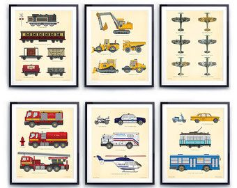 Transportation Wall Art Prints for Toddlers Room  Choose Any