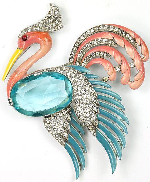Trifari 'Alfred Philippe' Pave Aquamarine and Enamel Flying Heron Pin