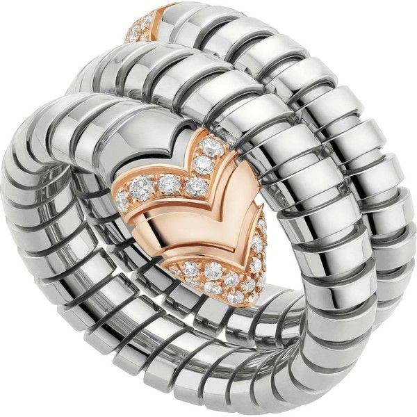 bvlgari serpenti tubogas 18ct pinkgold diamond and stainless steel dop liked on polyvore featuring jewelry rings rose gold stainless