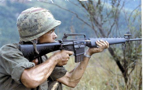 "Vietnam Soldier - helmet reads: ""Goin' Home to California"""