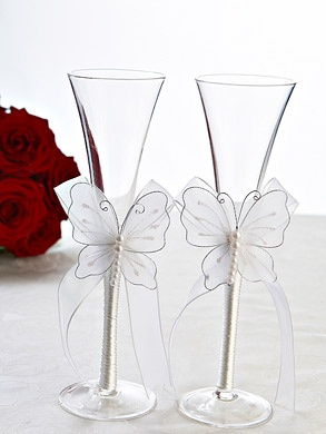 Butterfly wedding glasses