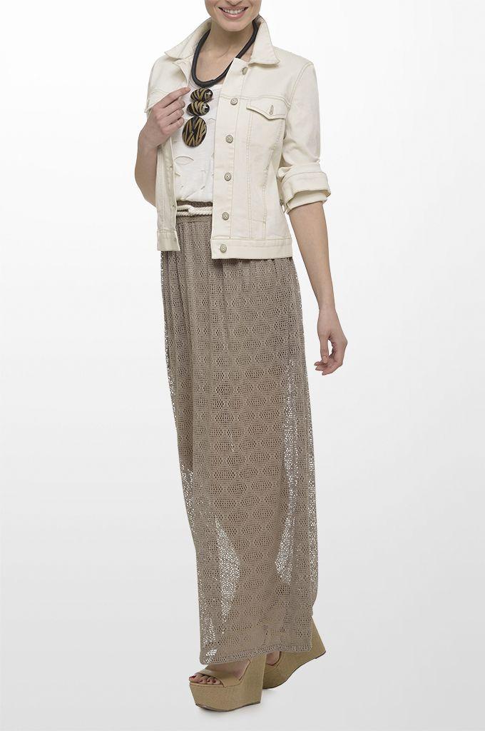 Sarah Lawrence - laser cut jacket, short sleeve laser cut blouse, lace maxi skirt, belt, necklace.