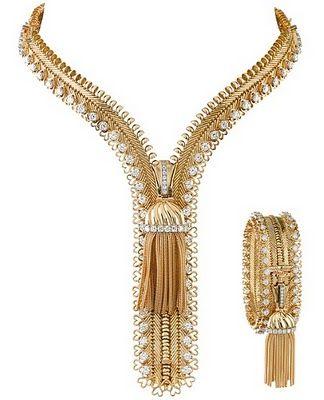 A vintage Van Cleef & Arpels diamond zipper necklace set in yellow gold that converts into a bracelet.