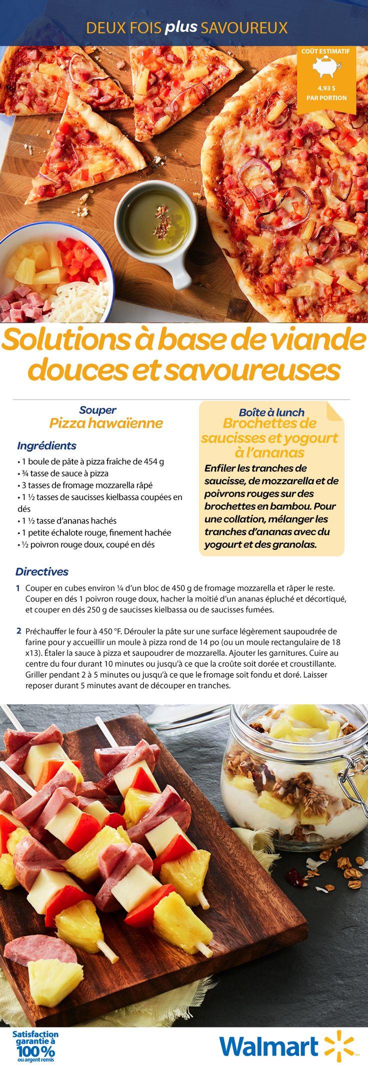Pour souper : une délicieuse pizza hawaïenne aux ananas. Pour la boîte à lunch : des brochettes de saucisses accompagnées d'un yogourt à l'ananas. Miam! #SolutionRepas