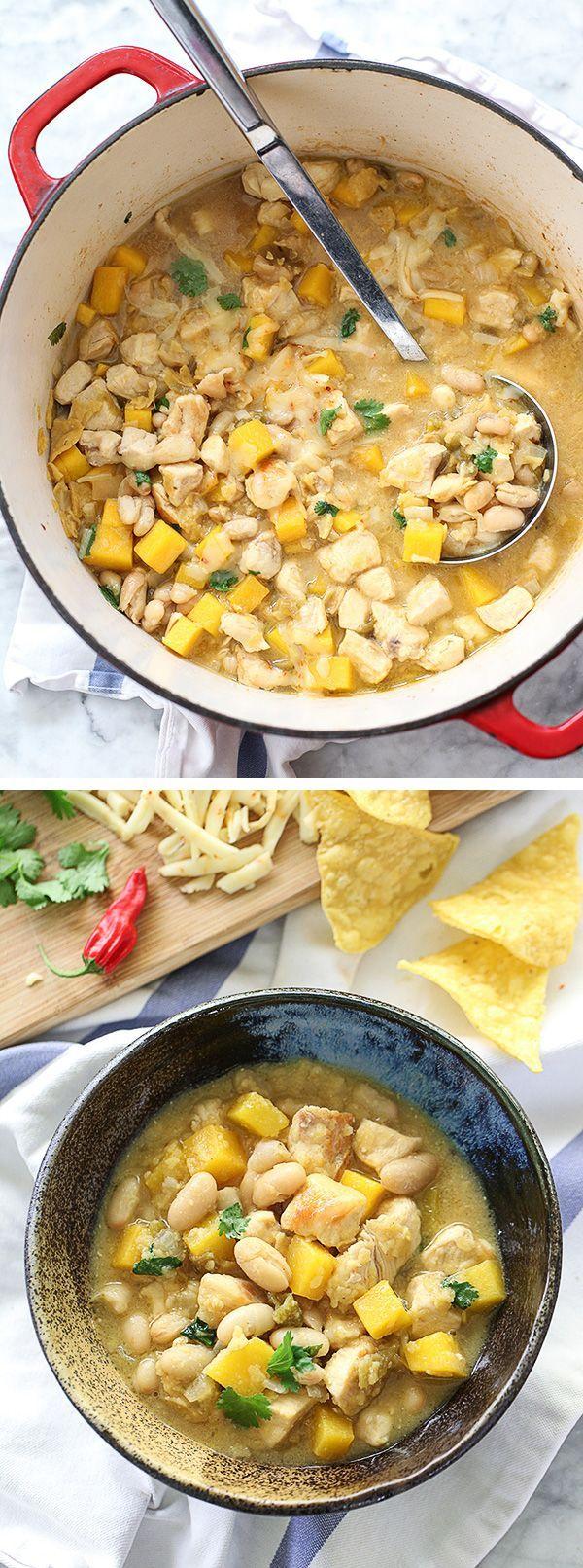 30 Minute White Bean Chicken Chili with Butternut Squash #healthydinner #dinnerideas