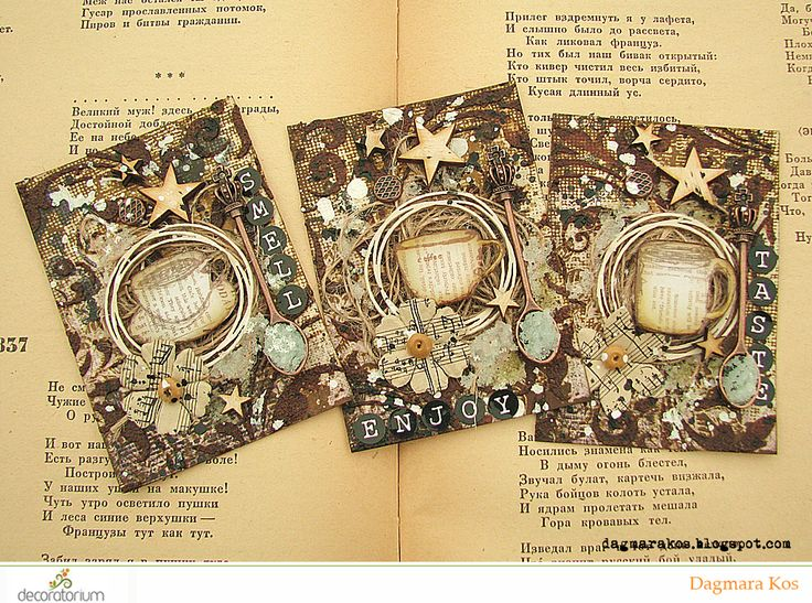 ATC, Artistic Trading Cards, coffee texture paste, mixed media, art grupa atc, with DecoArt Media, Prima Marketing, Ranger Ink