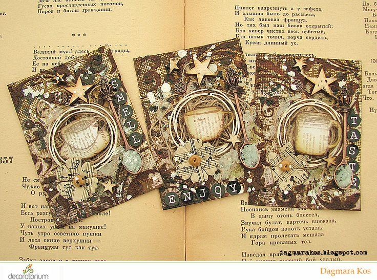 ATC, Artistic Trading Cards, coffee texture paste, mixed media, art grupa atc, with DecoArt Media, Prima Marketing, Ranger Ink