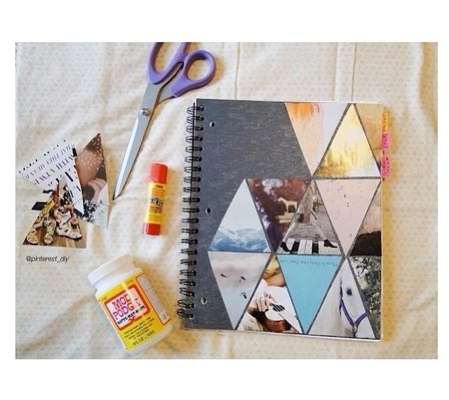 Decorate a notebook or journal with magazine cutouts