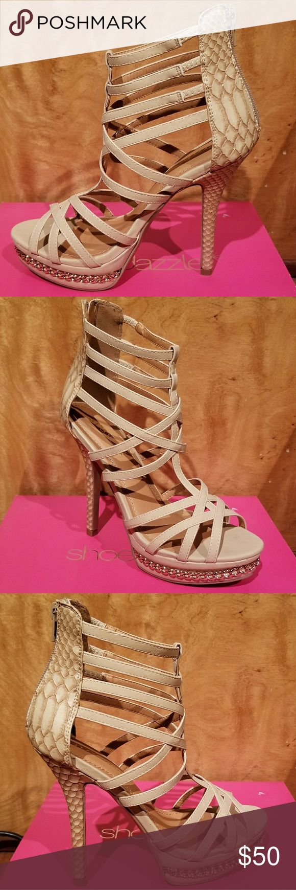 """Brand New nude strappy heels Brand new in box, never worn! Nude strappy platform heels with zip up the back, snake print heel & gold chain accent along platform. 5"""" height, looks amazing dressed up, or with jeans! Shoe Dazzle Shoes Platforms"""