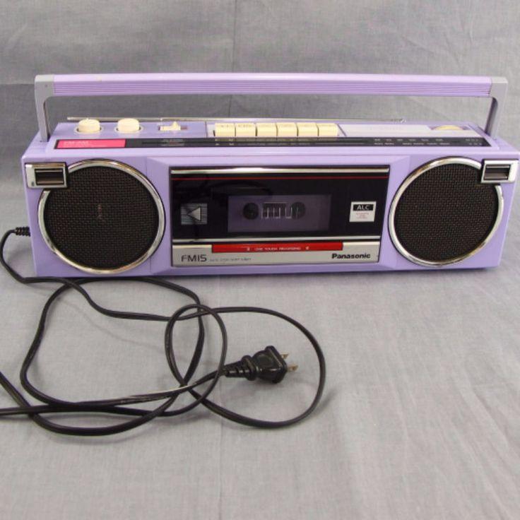 Panasonic FM15 Vintage Boombox Purple AM FM Radio Cassette Tate Recorder Player #Panasonic