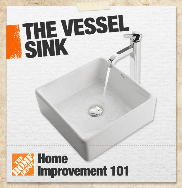 A vessel sink is a freestanding sink that does not fit down into a countertop but instead floats on top. Vessel sinks typically evoke a more modern feel, so they complement other contemporary bathroom fixtures. #101