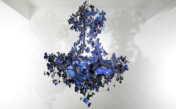 solor powered butterfly chandelier - LOVE the blue elegance