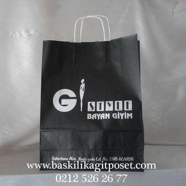 siyah giyim mağaza poşeti kraft çanta