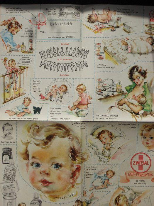 Reclame; vintage reclamefolders van onder andere Zwitsal die betrekking hebben op zwangerschap en geboorte - ca. 1968